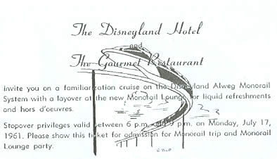 1961 monorail familiarization cruise ticket